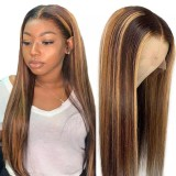 LM 2 Tones 4/27 Highlight Hair Transparent Lace Front Wigs 4*4 5*5 13*4 Human Hair Pre Plucked Human Hair Wigs For Black Women
