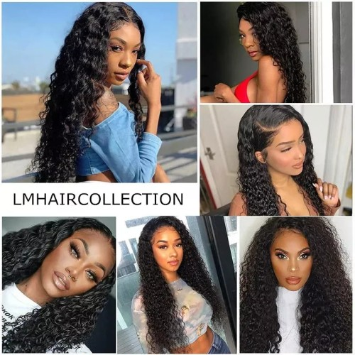 LM Jerry Curly 4*4 5*513X4 Lace Front Transparent Lace Natural Black Color Wigs