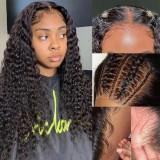 LM Jerry Curly 4*4 5*513X4 Lace Front Transparent Lace Natural Black Color Wigs