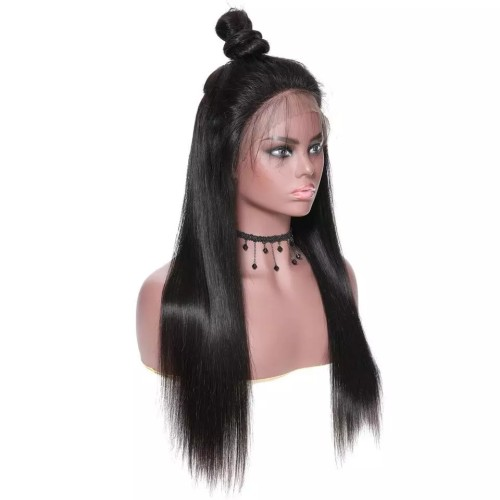 LM 10A Front Lace Long Straight 13*4 Wig 130% density Natural Color Brazilian Virgin Human Hair Wig With Baby Hair