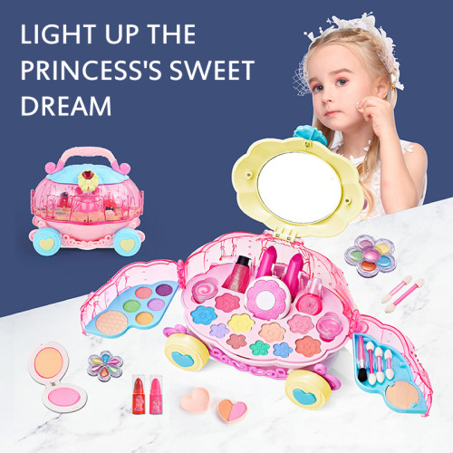 (Buy 2 Free Shipping)Children's Cosmetics Set Girl Suitcase Princess Makeup Box