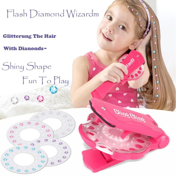 Fashion Gems Bling Bling Deluxe Set Pretend Play DIY Girls Hair Styling Tool