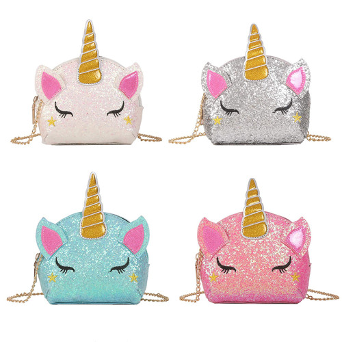Glitter Unicorn Cute Shoulder Bag Cute Colorful Girls Mini Messenger Bag