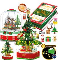 New Creativity Christmas Blocks  LED Christmas Tree Rotating Music Box Santa Building Blocks Kids Toys  Winter  Gifts