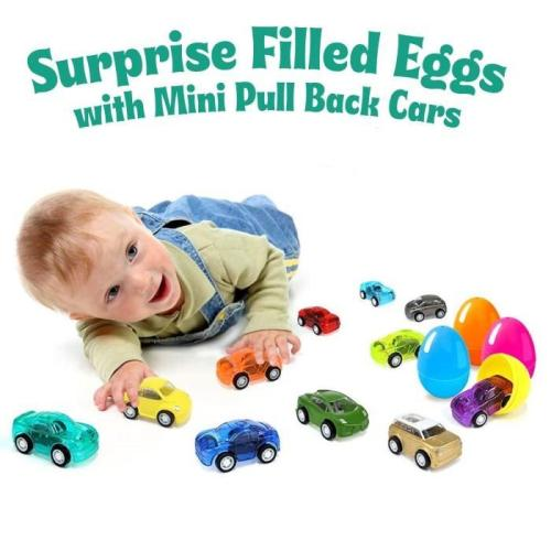 12 Pcs Easter Eggs Filled with Pull-Back Construction Vehicles)
