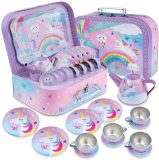 15 Piece Kids Tin Tea Set & Carrying Case