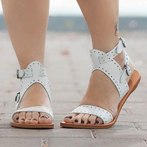 Adjustable Buckle Open Toe Casual Flat Sandals