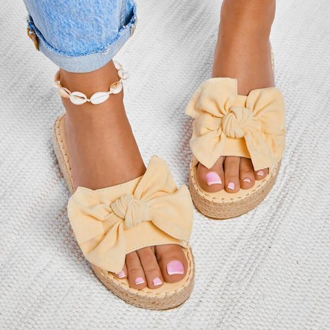 Women Casual Bowknot Muffin Slippers