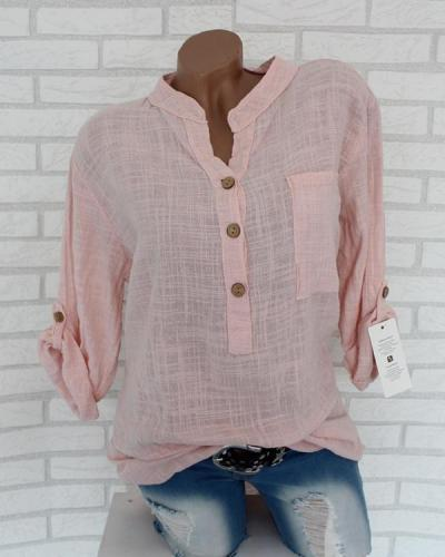 Holiday Solid Long Sleeve Button V-Neck Tops