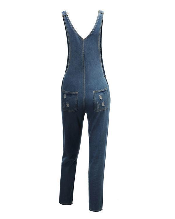 Spaghetti Strap Backless Plain Sleeveless Jumpsuits