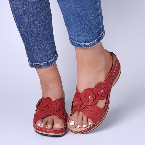 Flower Cross Peep Toe Hollow Out Casual Beach Sandals
