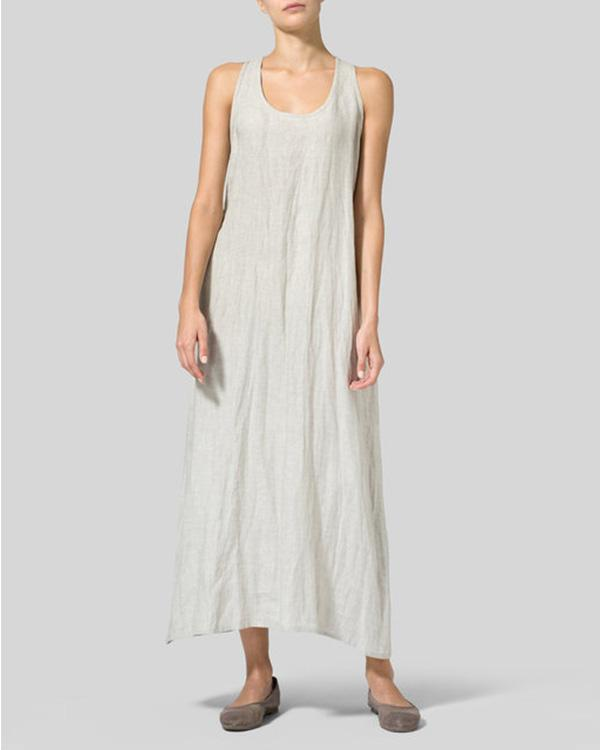 U-Neck Women Summer Dresses A-Line Midi Dresses