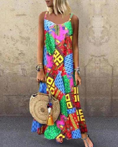 Fashion Sleeveless Summer Bohemian Printed Maxi Dress