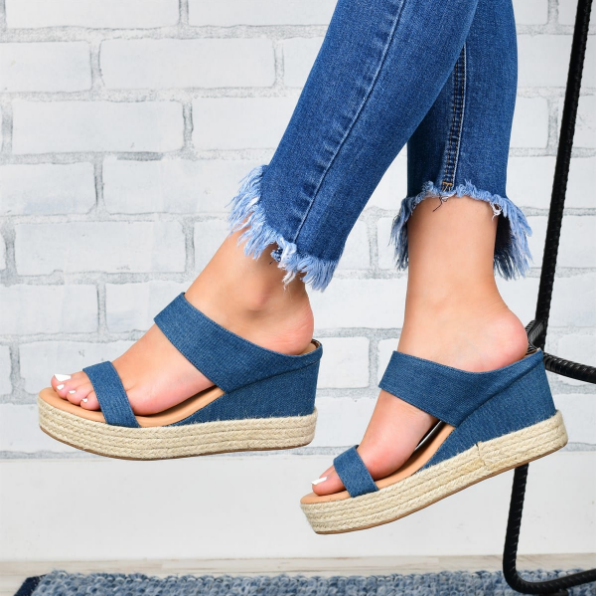 2020 New And Fashional Woman Slip-On Espadrille Wedge Sandals