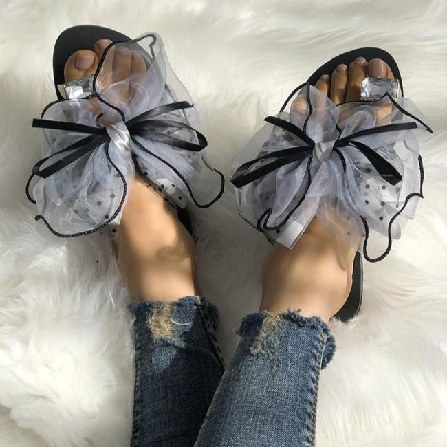 Large Size Women Summer Rhinestone Lace Organza Bow Knot Flat Slippers