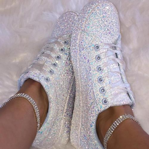 Classic Fashion Paillette Lace-Up Round Toes Sneakers