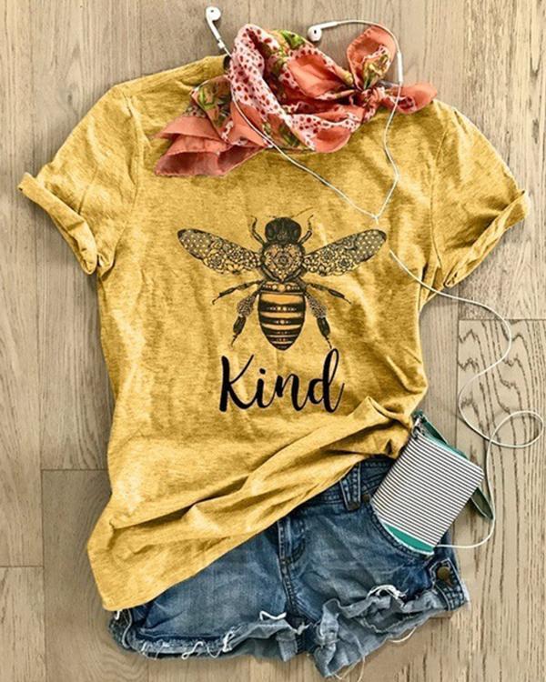 Women's Bee Print Top Women's Cotton T-Shirt