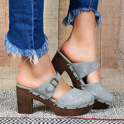 Leather Platform Shoes Sandals