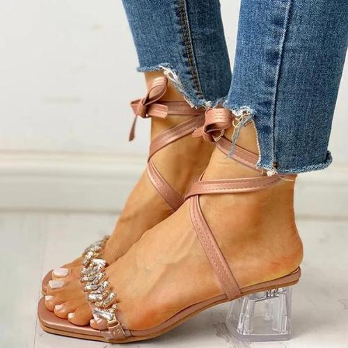 Transparent Chunky Heeled Sandals