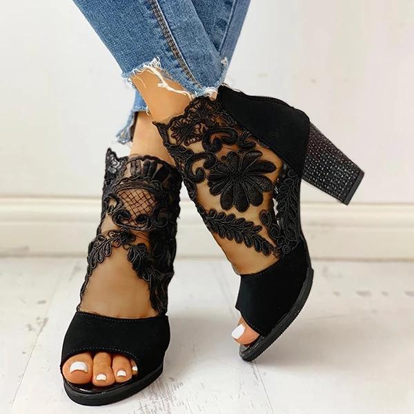 Mesh Insert Chunky Heeled Sandals