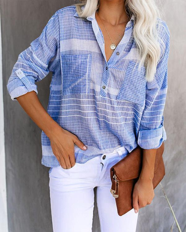 Paneled Plaid Print Buttoned Side Pocket Casual Blouse