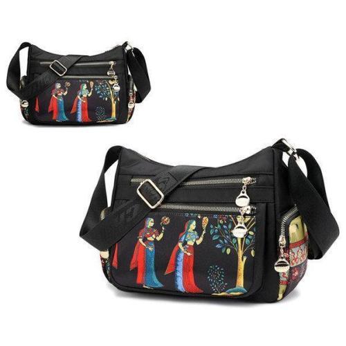 Women Multi-pocket Print Crossbody Bag