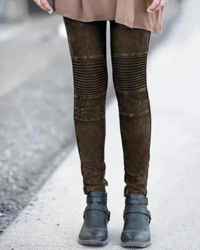 Women's Retro Solid Color Stitching Stretch Leggings