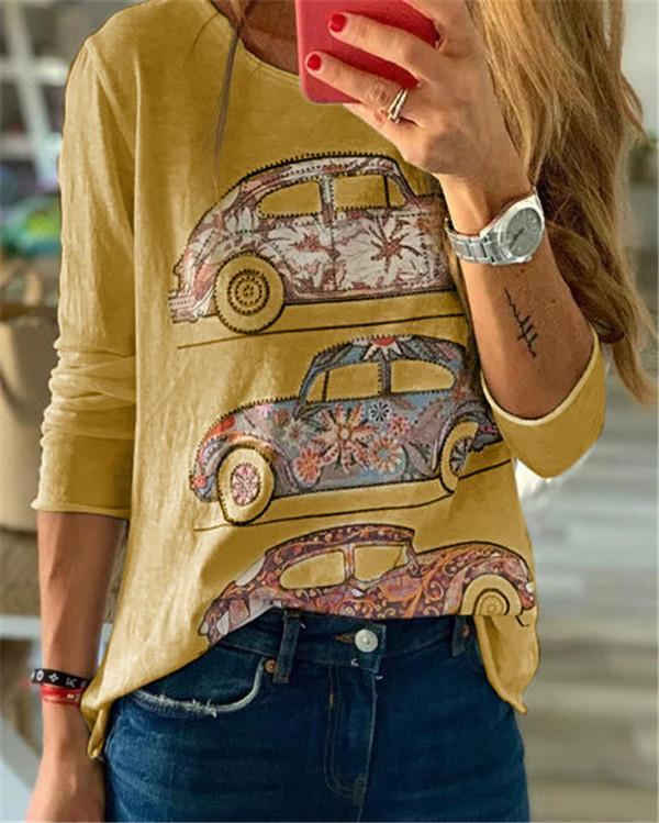 VM Bus Crew Neck Fall New Casual Lady Daily Shift Tops