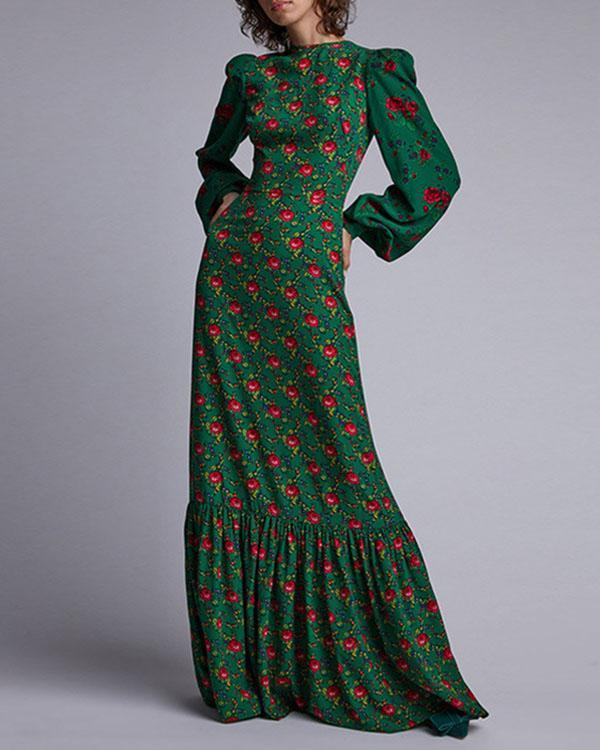The Gypsy Crepe Tea Green Floral Printed  Maxi Dress