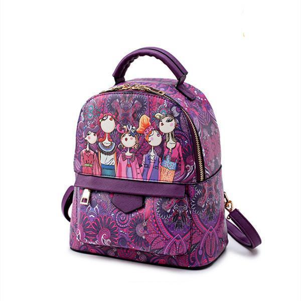 Bohemian Forest Green Print School Bag Travel Backpack