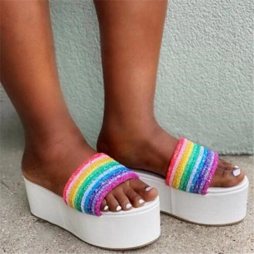Open Toe Rainbow Multicolor Striped Sandals