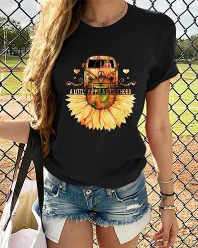 Women Sunflower Printed Tshirt Summer Tops