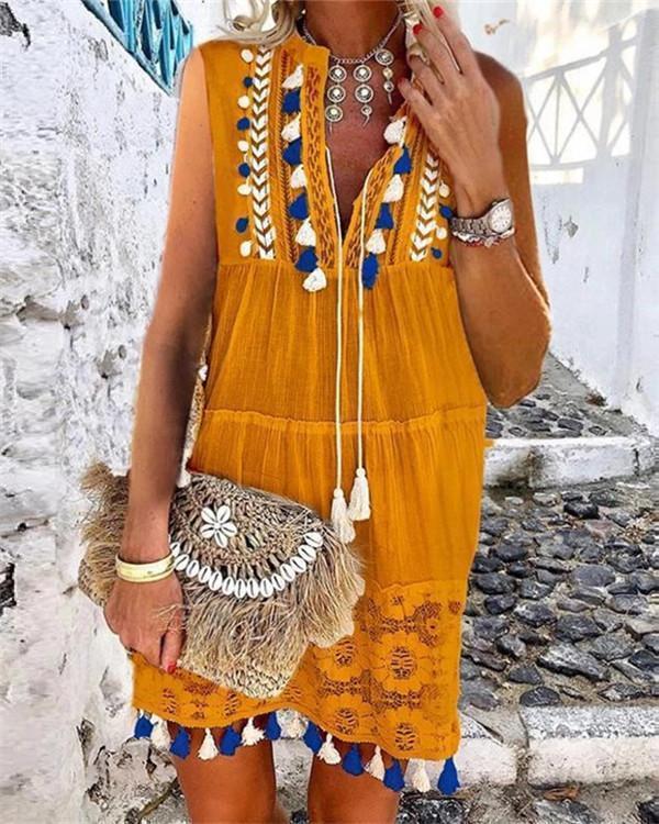 Holiday V-neck Laser-cut Sleeveless Midi Dress