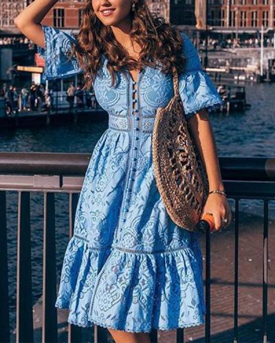 V-neck Button Through Lace Midi Dress