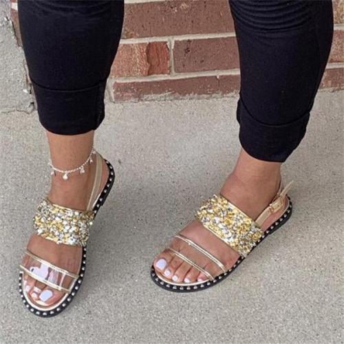 Open Toe Flat Rhinestone Sandals