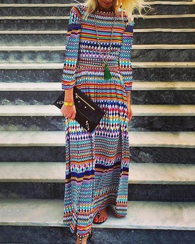 Women Spring Summer  Printed Maxi Dresses