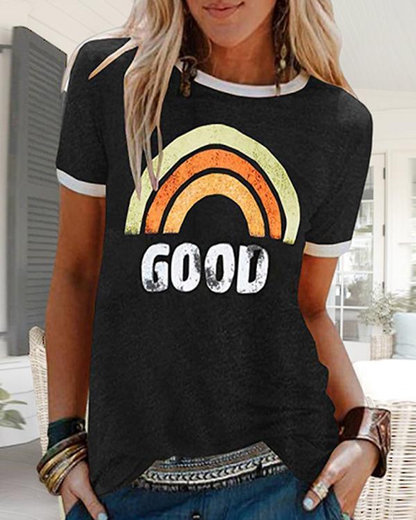 Casual Simple Loose Print T-Shirt