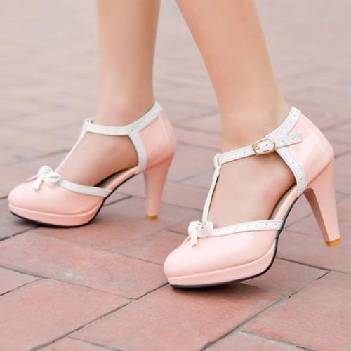 Color Block Chunky High Heeled Round Toe Date Travel Platform Heels