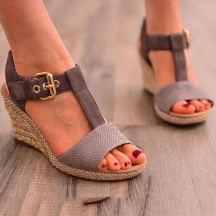 Wedge Heel Adjustable Buckle Artificial Suede t-Strap Sandals