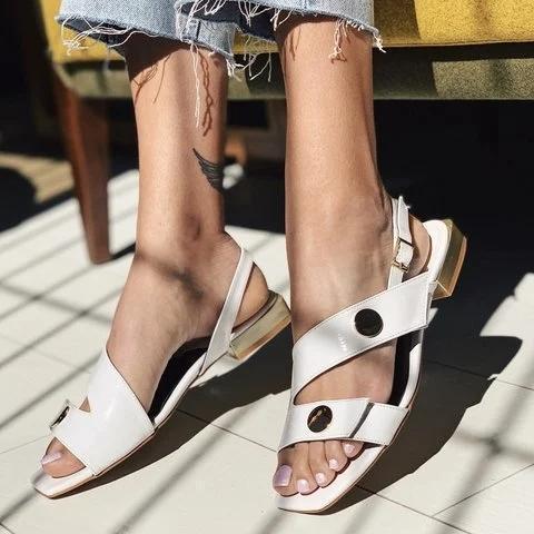 Flat Heel Leather Sandals