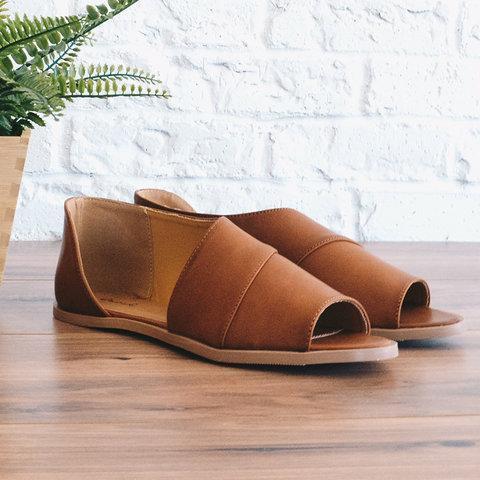 Large Size Peep Toe Flats Slip On Flat Heel Sandals Shoes