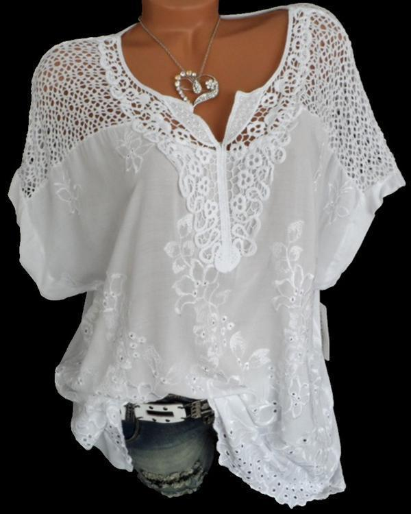 Women Casual Lace V Neck Embroidered Short Sleeve Plus Size Blouses Tops