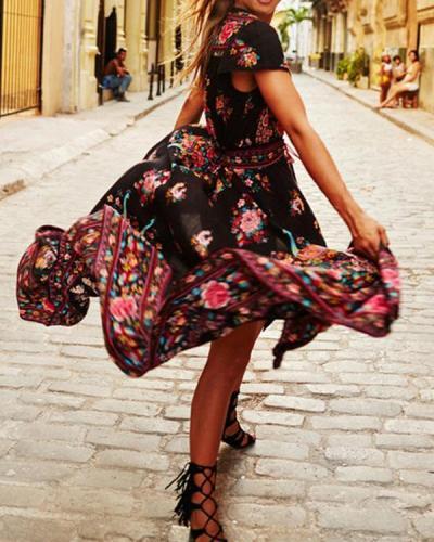 Women V Neck Floral Dresses Swing Daytime Elegant Floral Dresses