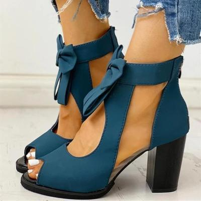 Women Sexy Lace Chunky Sandals