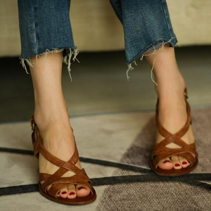 Chunky Heel Sandals Women Leather Sandals