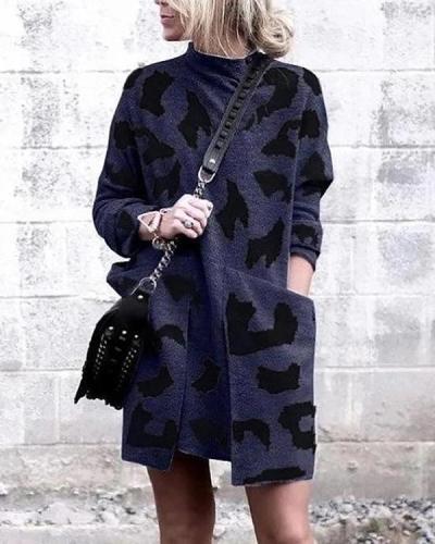 Long Sleeve Printed Pocket Midi Dress