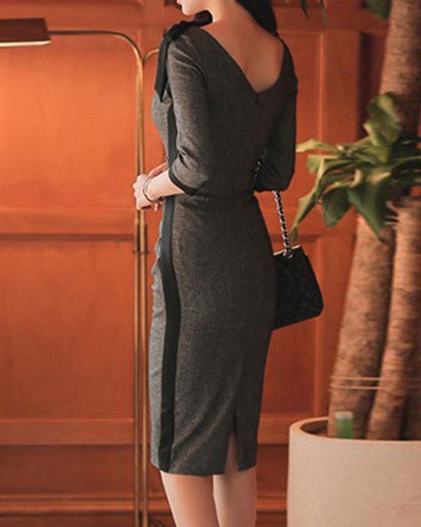 Tie Collar Plain Bodycon Midi Dress