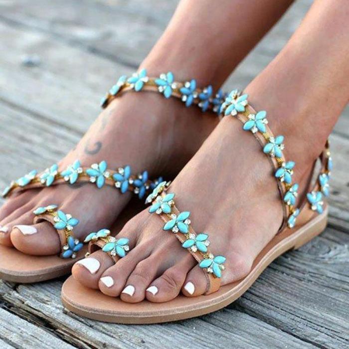 Summer Handmade Cute Beach Rhinestone Slip On Sandals