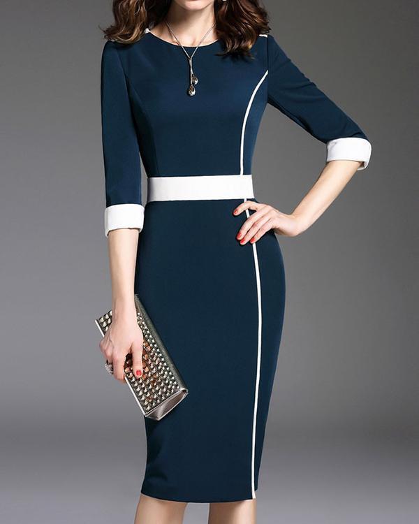 Round Neck Plain Bodycon  Mini Dress