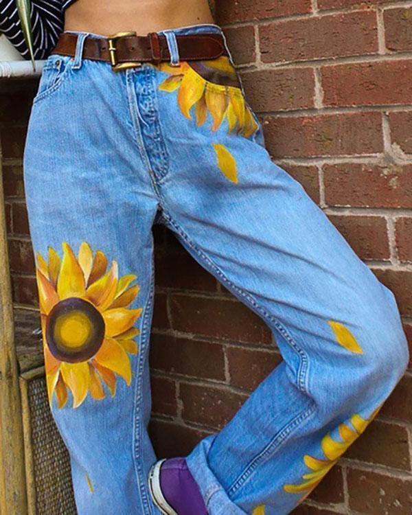 Women's Casual Print Washed Sun Flower Loose Jeans
